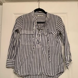 Madewell Striped Lace-Up Shirt